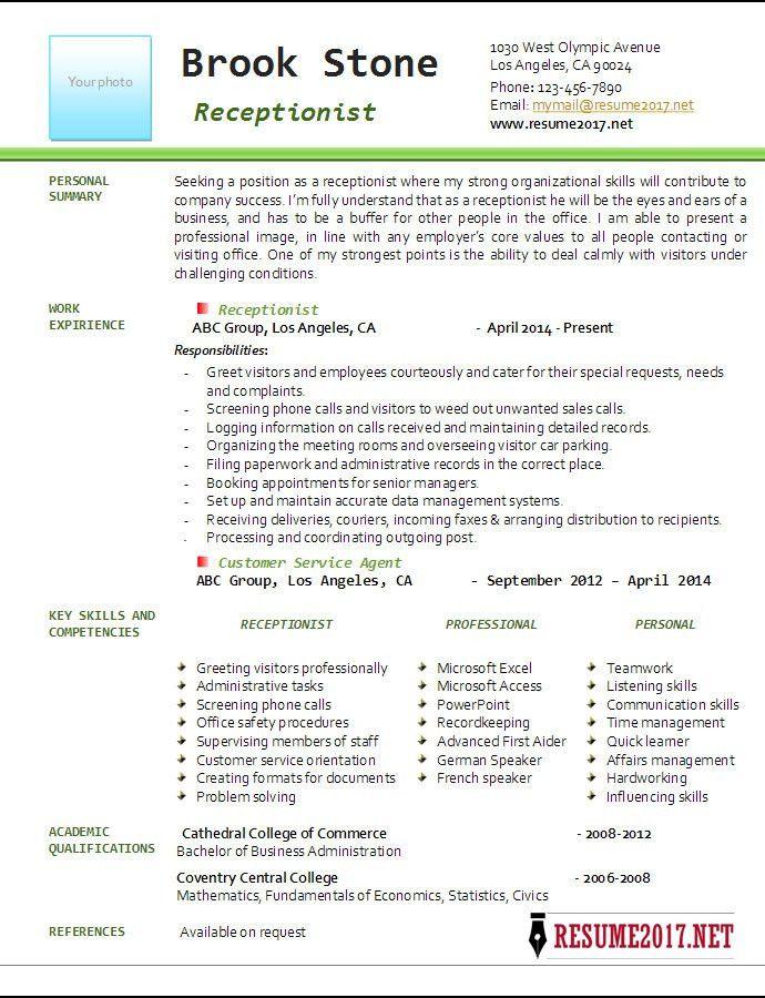 Receptionist Resume Example 2017 •