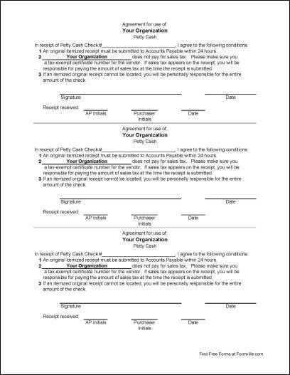 Free Petty Cash Agreement from Formville