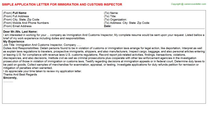 Immigration And Customs Inspector Application Letter