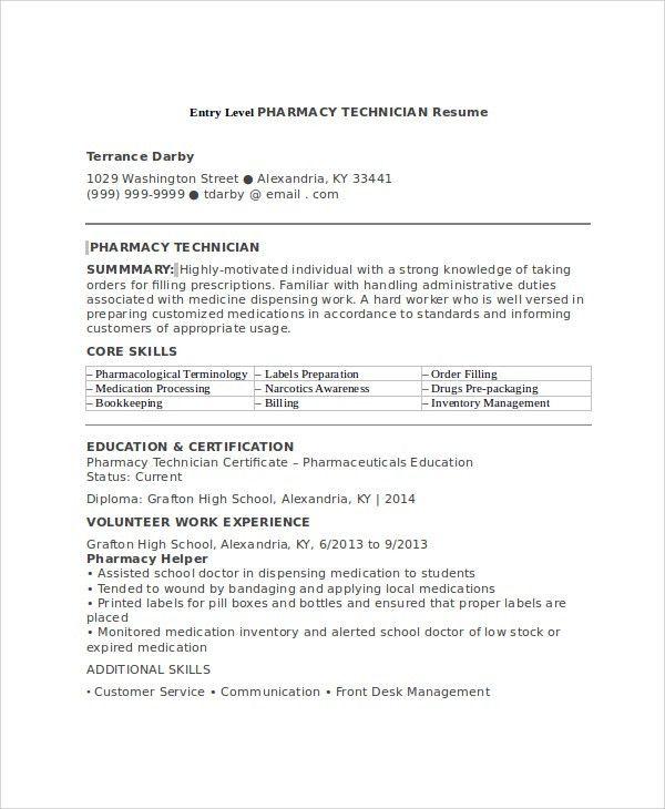 Sample Pharmacy Technician Resume - 7+ Examples in Word, PDF