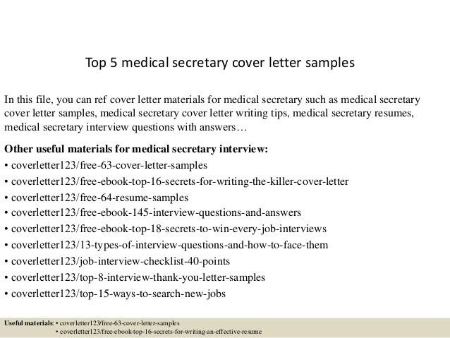 Ideas Collection Sample Cover Letter Medical Secretary In Template ...