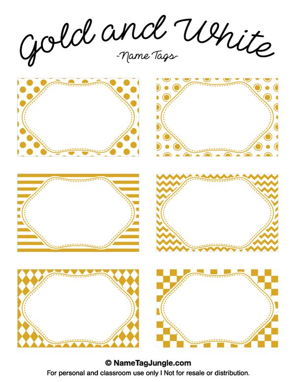 Printable Gold and White Name Tags