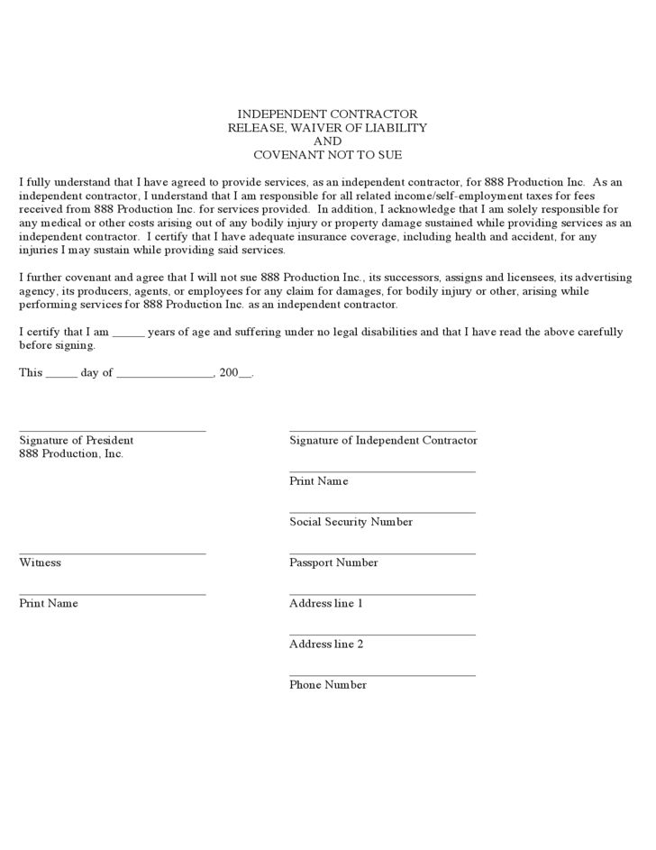 Contractor Liability Waiver Form - Florida Free Download