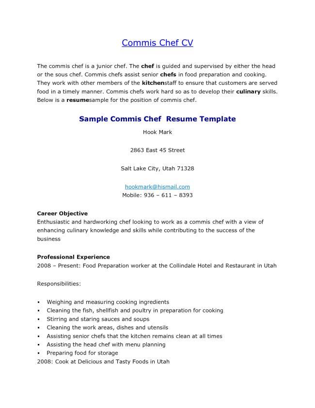 Commis Chef Resume Objective CV Sample : Vinodomia