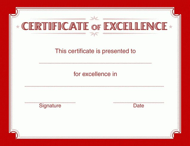 Certificate of Excellence Template | Free Word Templates