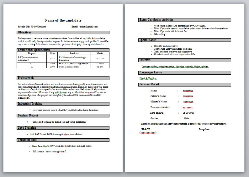 cv samples for freshers bca. resume format for freshers mechanical ...