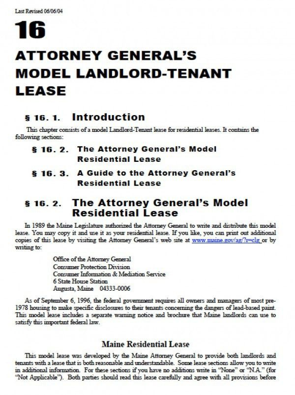 Free Maine Residential Lease Agreement | PDF | Word (.doc)
