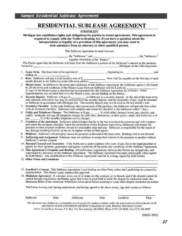 Michigan Rental Lease Agreement Templates | LegalForms.org