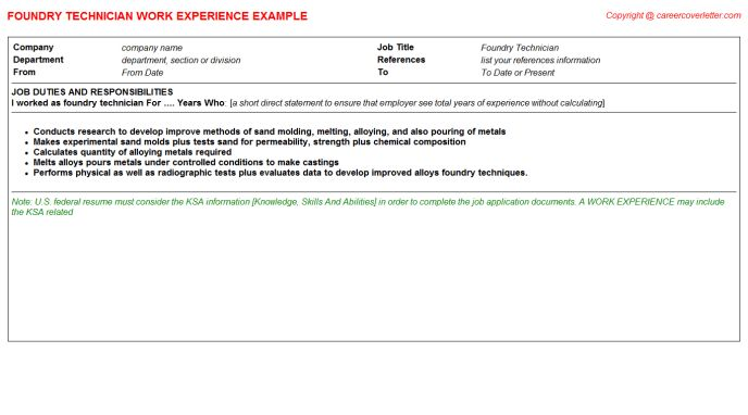 Foundry CV Work Experience Samples