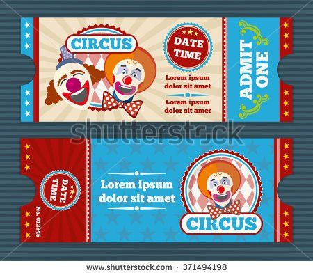 Circus Ticket Template Invitation Coupon Clown Stock Vector ...