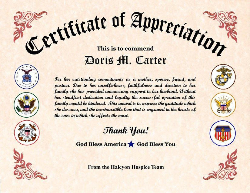 10 Best Images of Veteran Appreciation Certificates Blank - Free ...