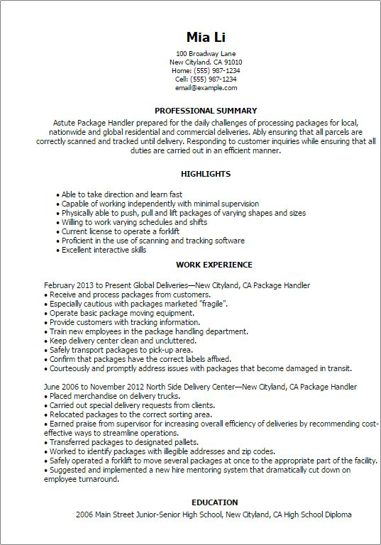 Package Handler Job Description Resume   SampleBusinessResume.com .