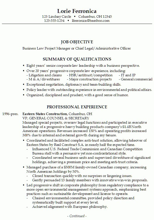 Cover Letter Chief Administrative Officer - Resume Acierta