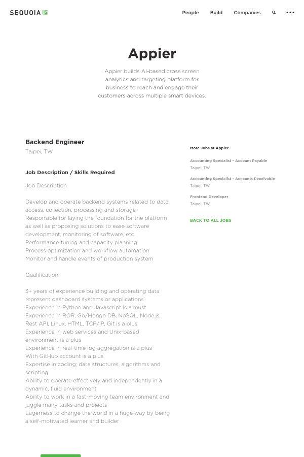 Backend Engineer job at Appier in Taipei, Taiwan | Tapwage Job Search
