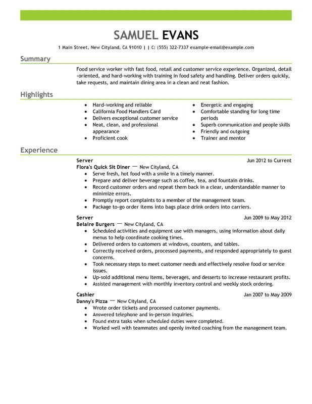 Peaceful Inspiration Ideas Restaurant Server Resume 9 Food Service ...