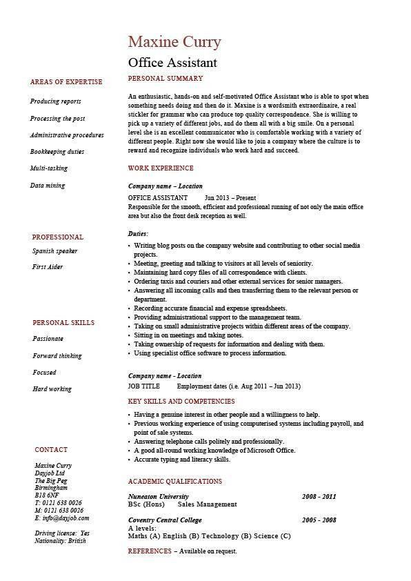 Office Assistant resume, administration, example, sample ...