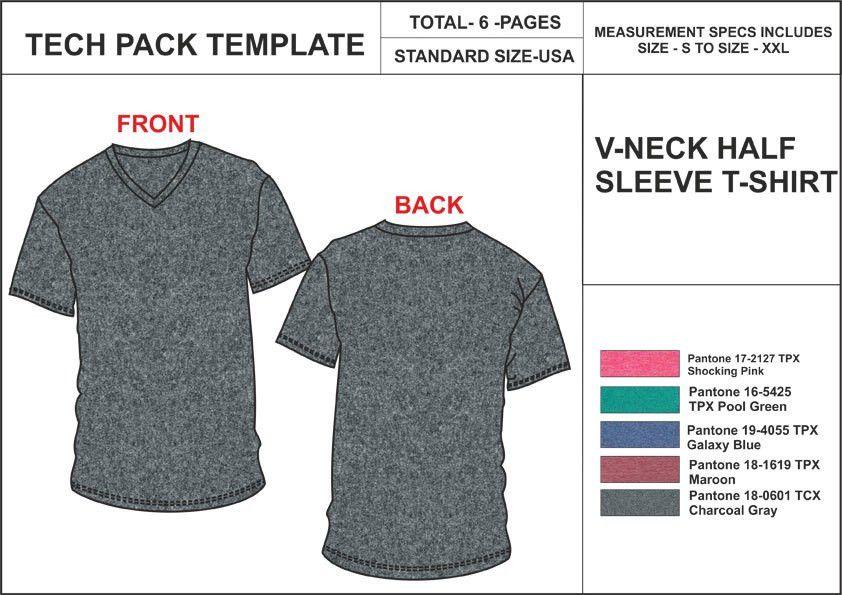 Tech Pack Template Mans Cardigan USA Standard Size