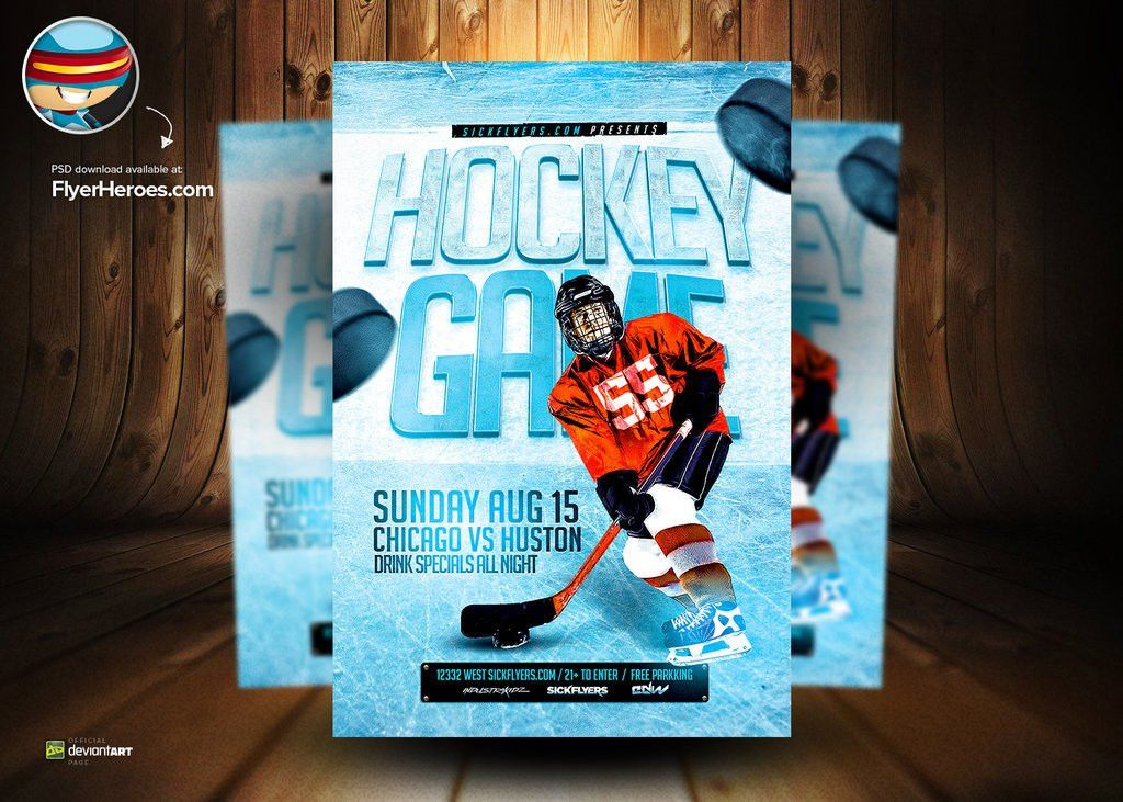 Ice Hockey PSD Flyer Template by flyertemplates on DeviantArt