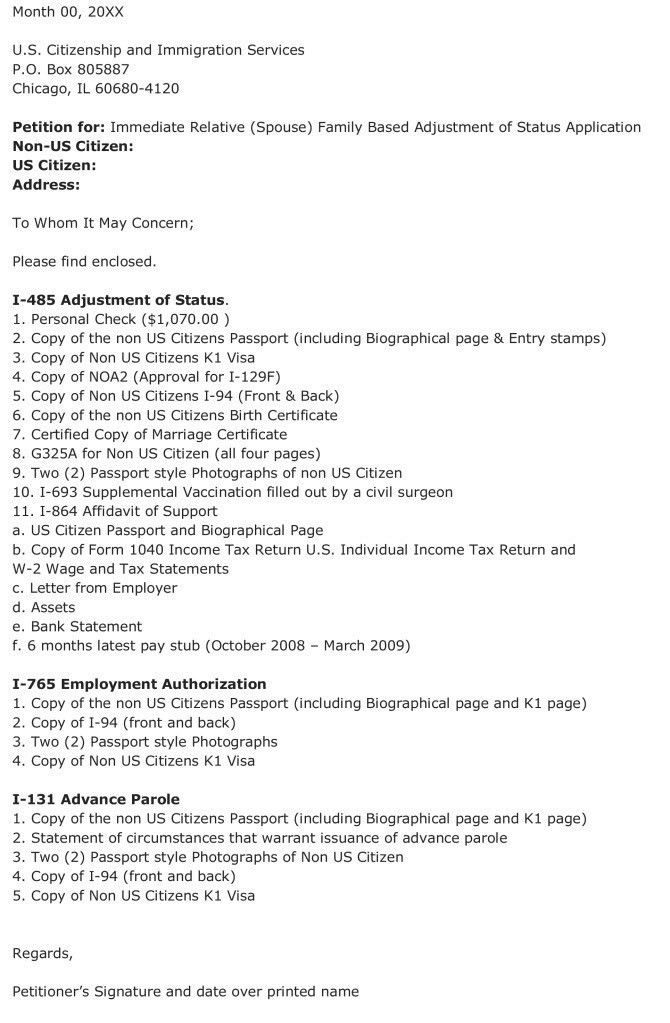 i 485 cover letter. form cover letter application letter for form ...
