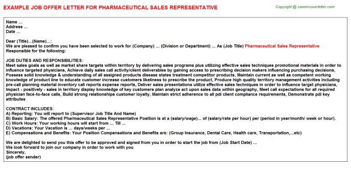 Pharmaceutical Sales Representative Offer Letter
