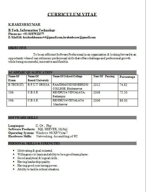 Sample Resume For Fresher Mechanical Engineering Student - Best ...