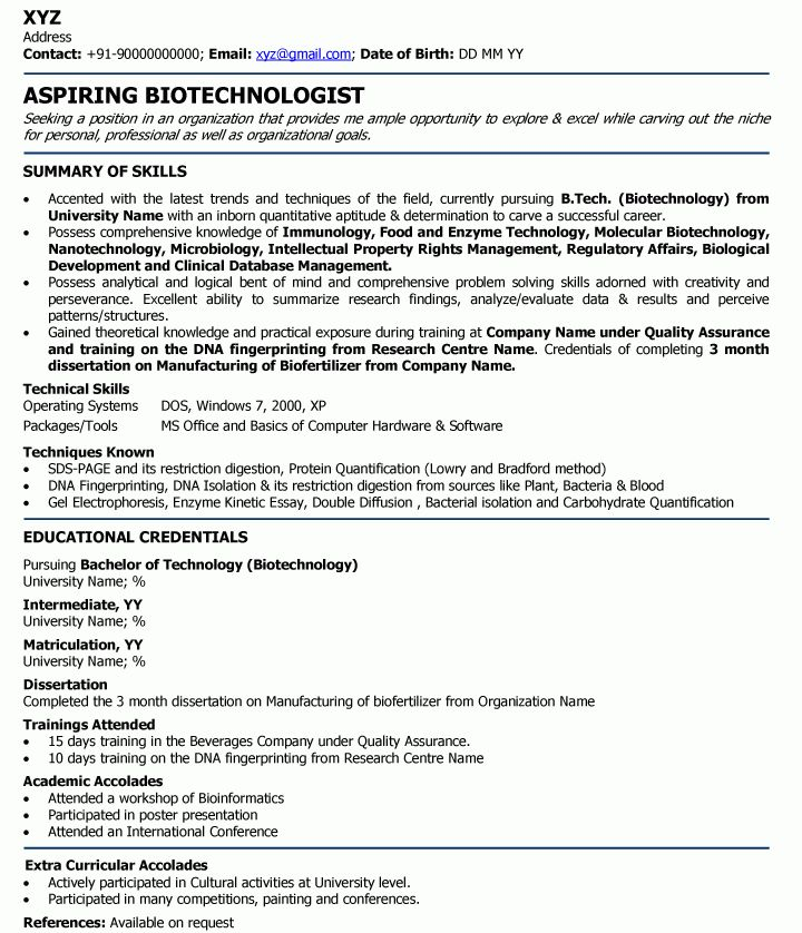 Biotechnologist Professional Resume Samples