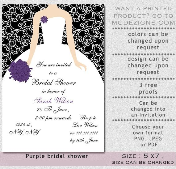 Purple Bridal Shower Invitations – gangcraft.net