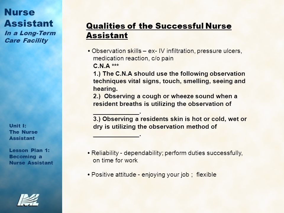 Nurse Assistant In a Long-Term Care Facility Unit I: The Nurse ...