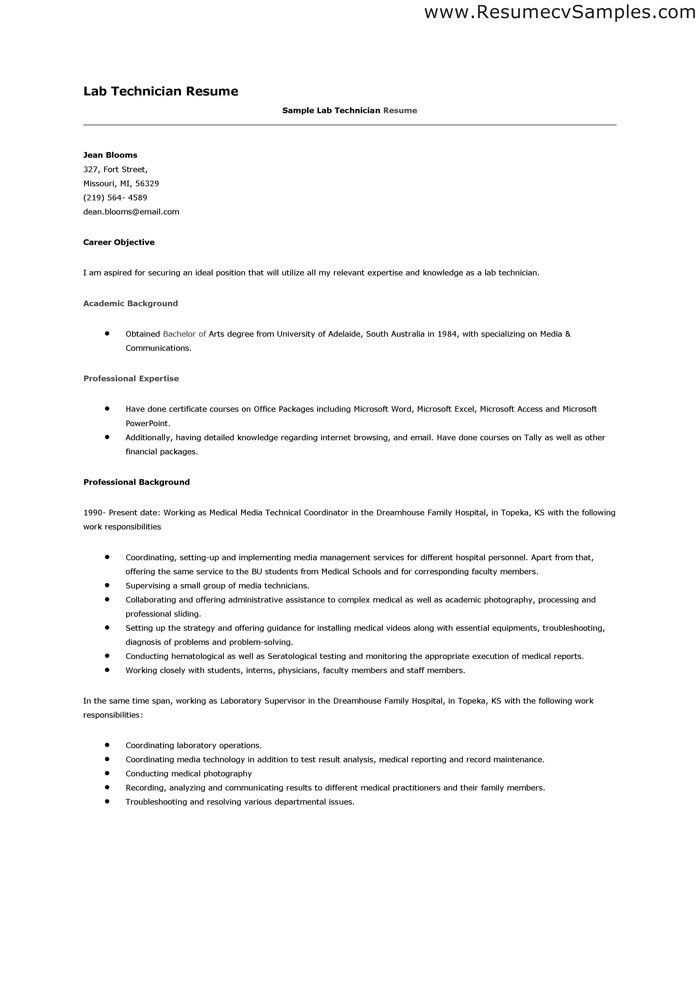 laboratory technician resume