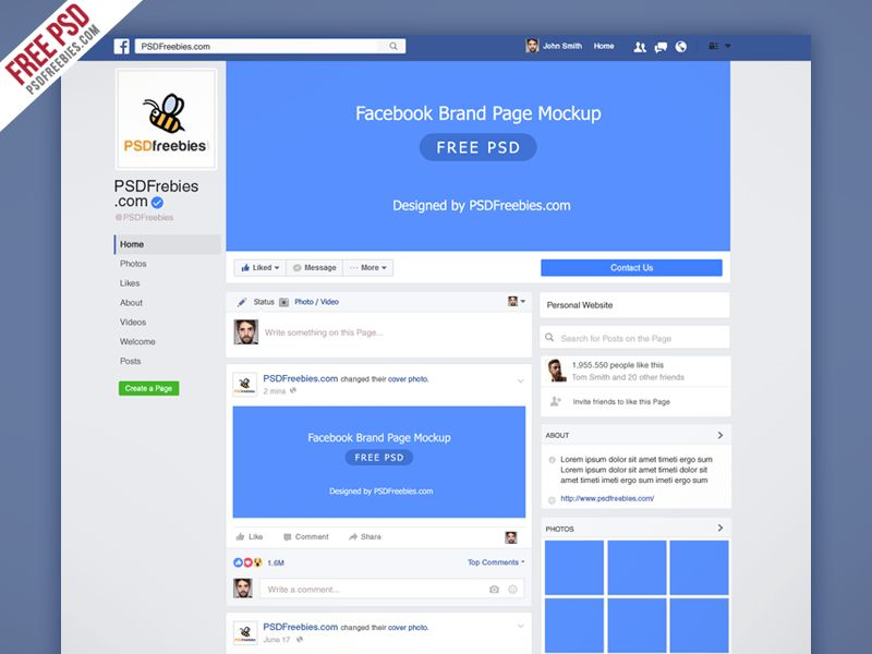 Facebook New Brand Page 2016 Mockup PSD Download - Download PSD