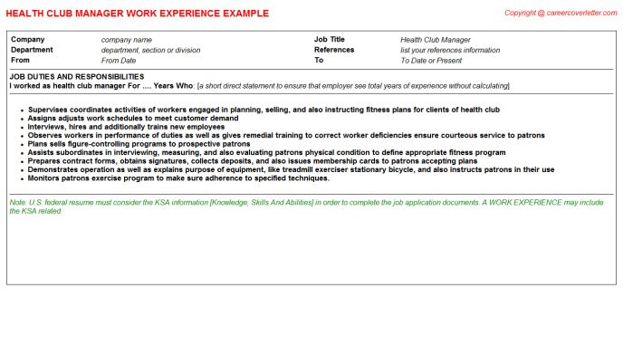Club Promoter CV Work Experience Samples