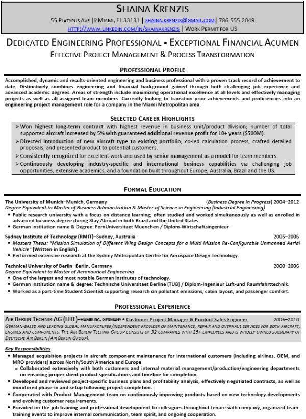 Formal Dedicated Engineering Resume Sample and Selected Career ...