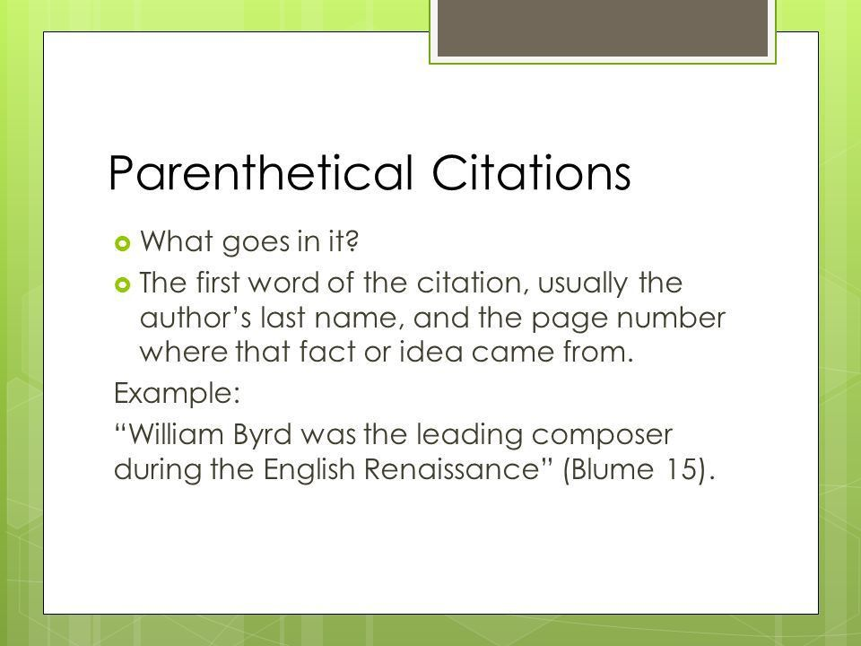 Notes #18 Works Cited Slide and Parenthetical Citations. - ppt ...