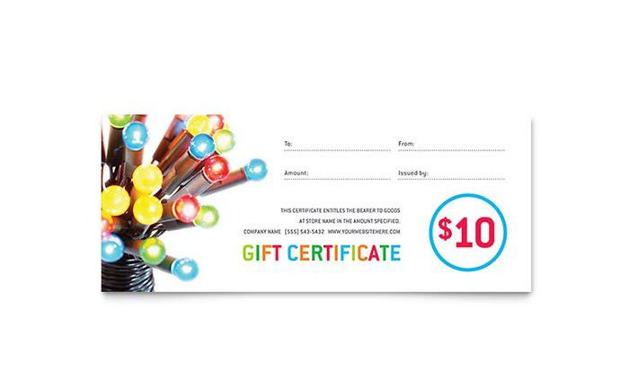 Christmas Lights Gift Certificate Template Design