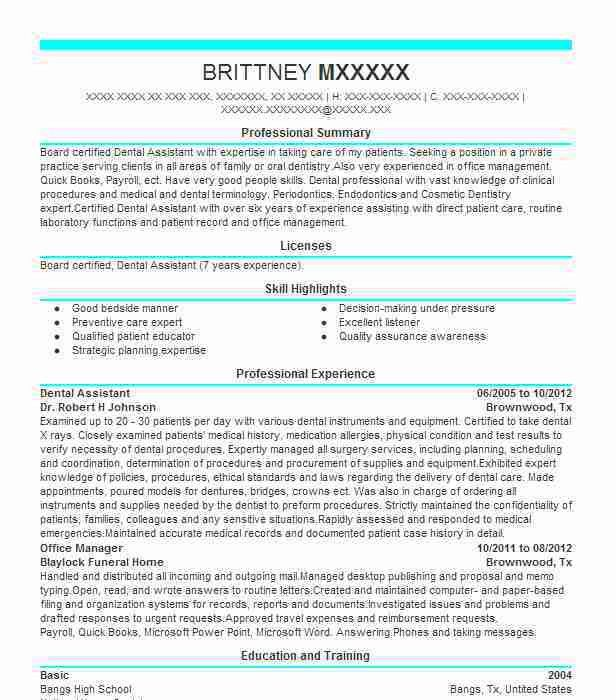Best Dental Assistant Resume Example | LiveCareer