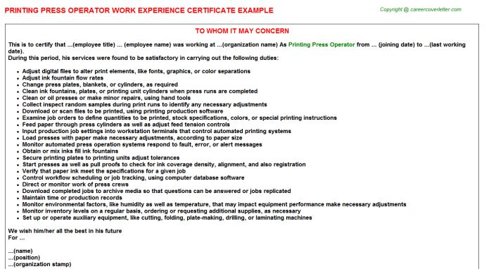 Printing Press Operator Work Experience Certificate