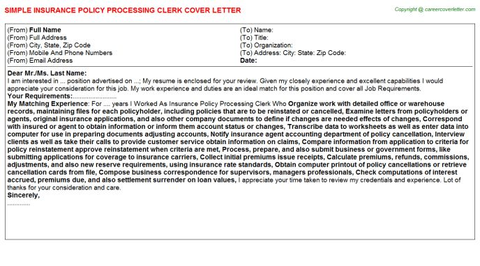Insurance Policy Processing Clerk Cover Letter