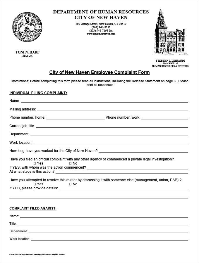 29+ HR Complaint Forms - Free Sample, Example Format | Free ...