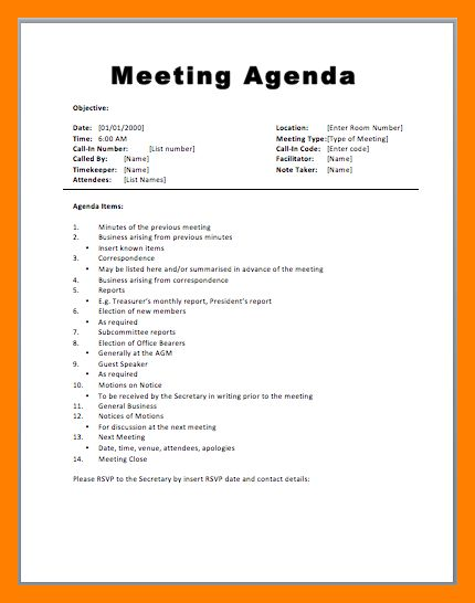 8+ example of meeting agendas | emt resume