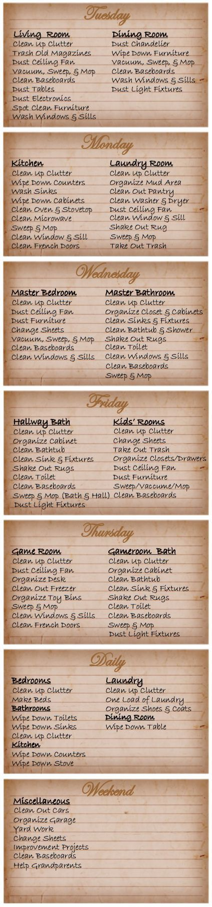 Printable House Cleaning Schedule | House cleaning schedules ...