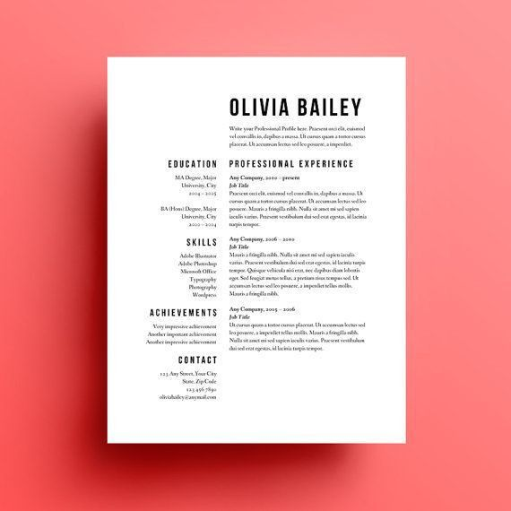Template Resume. Creative Cv Template In Ms Word Including ...