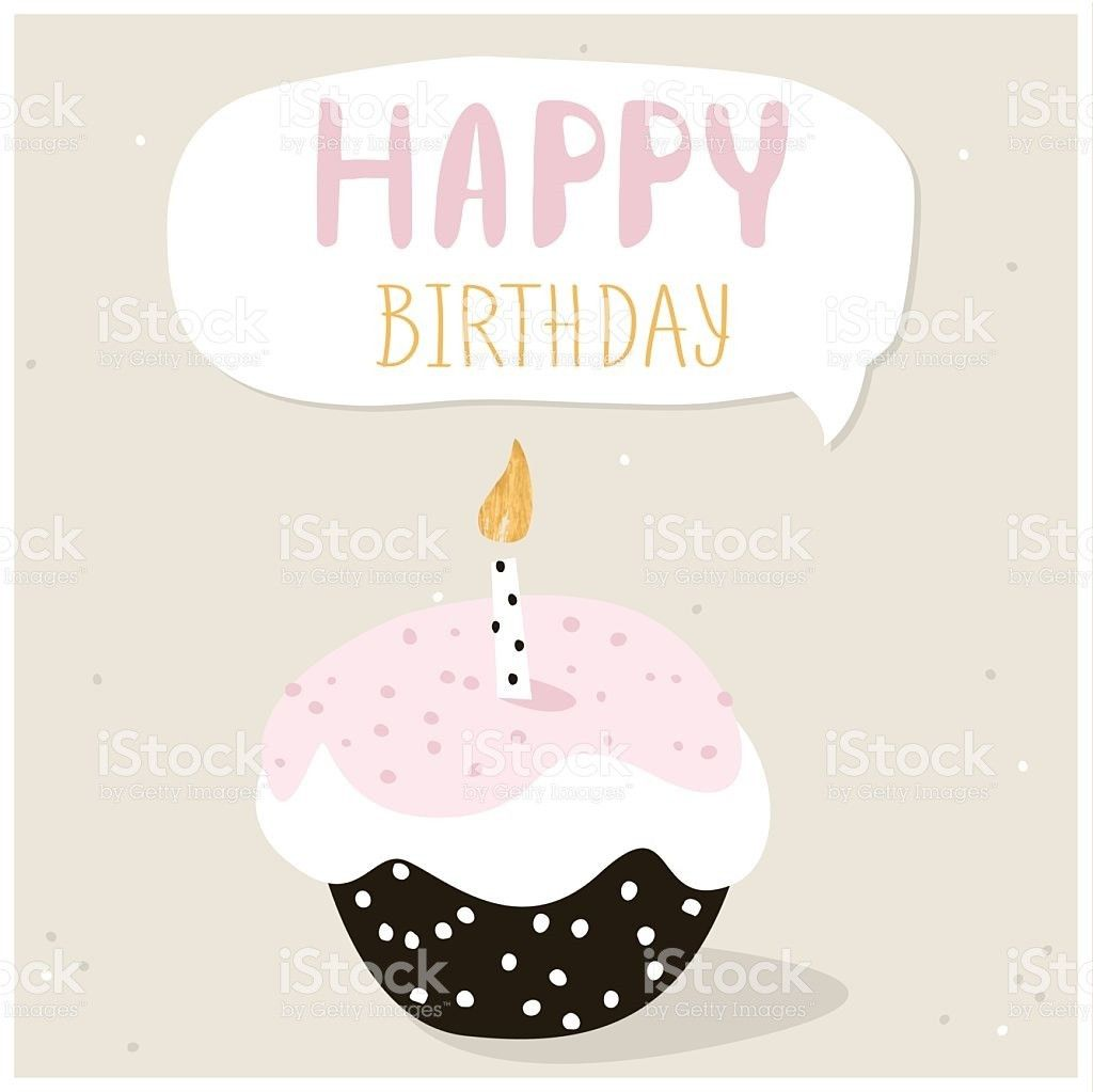 Cute Cupcake With Happy Birthday Wish Greeting Card Template stock ...