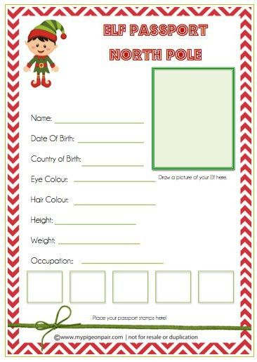 Get a free Elf Travel Passport printable for your Elf on the Shelf ...