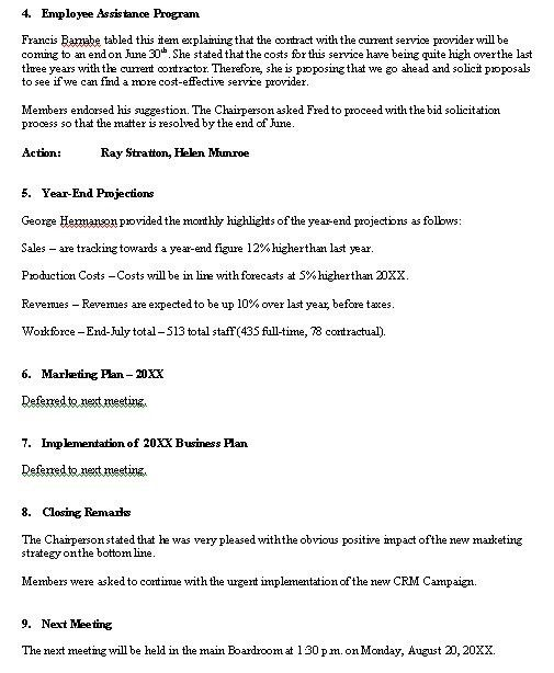 Meeting Minutes sample... format for a typical meeting minutes ...