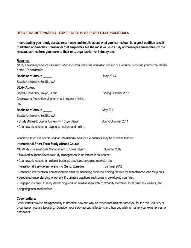 Marketing international experience packet
