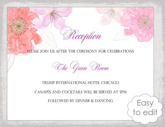 Wedding Reception invitation template DIY printable