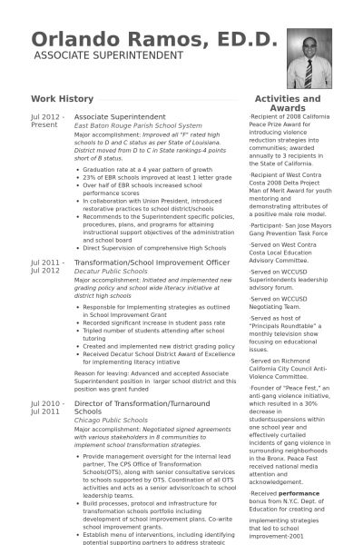 Superintendent Resume samples - VisualCV resume samples database