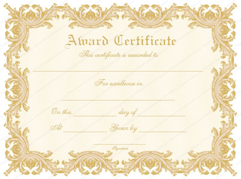 Formal Award Certificate Templates | Blank Certificates