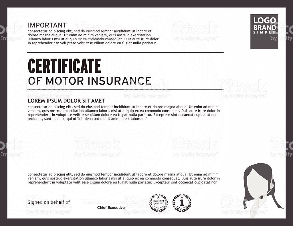 Great Template Of Certificate Motor Insurance With Woman Logo Stock .