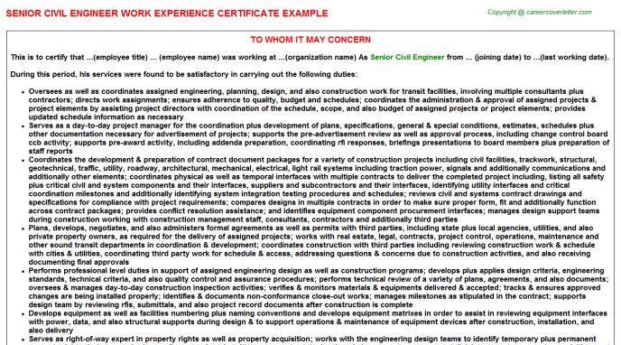 Senior Civil Engineer Work Experience Certificate